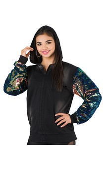 Click for more information about Distressed Sequin Sleeve Hoodie