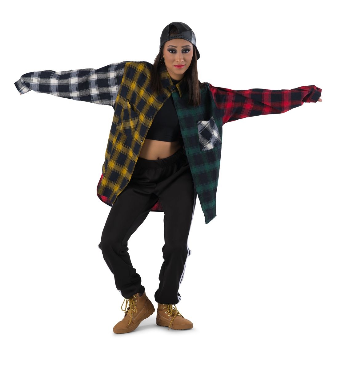 COLORBLOCK PLAID FLANNEL SHIRT