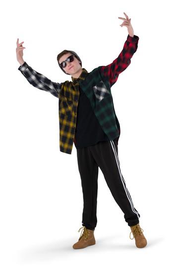 Click to Shop Colorblock Plaid Flannel Shirt Hip Hop Costume