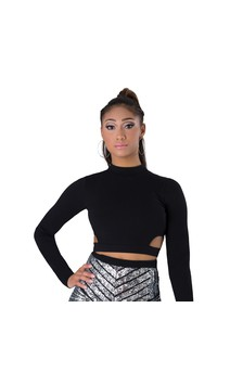 Click for more information about Mock-Neck Cut-Out Crop