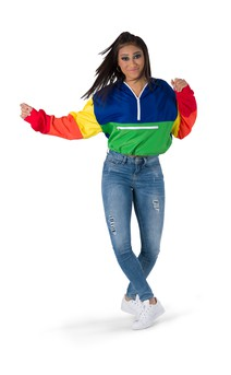 Click for more information about Cropped Colorblock Windbreaker Hoodie