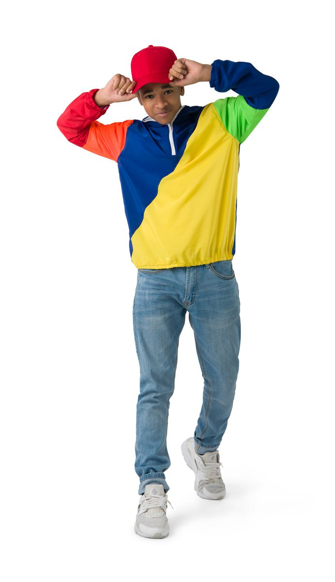 RELAXED COLORBLOCK WINDBREAKER HOODIE