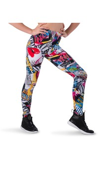 Click for more information about Abstract Magazine Print Legging