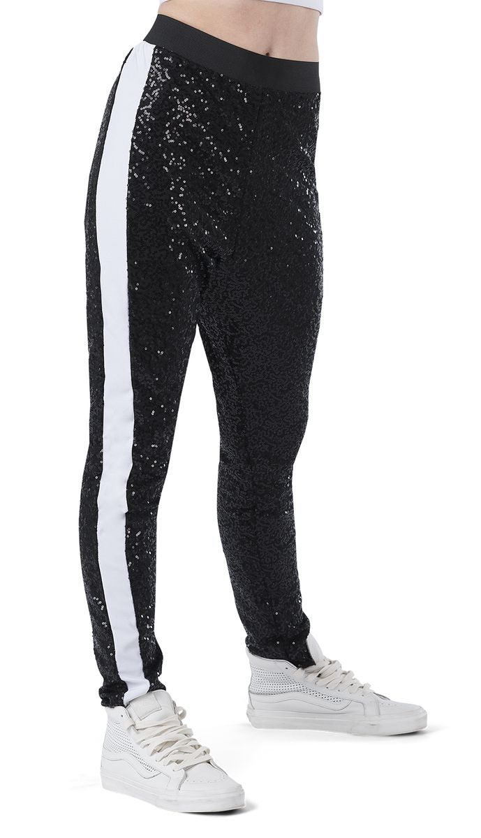 SEQUIN DROP CROTCH TAPERED PANT