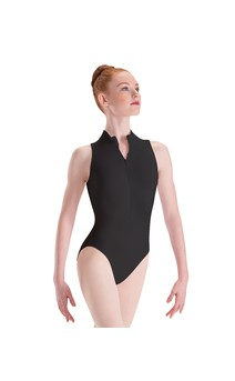 Click for more information about Zip Front Mock Neck High Cut Leg Leotard Silkskyn
